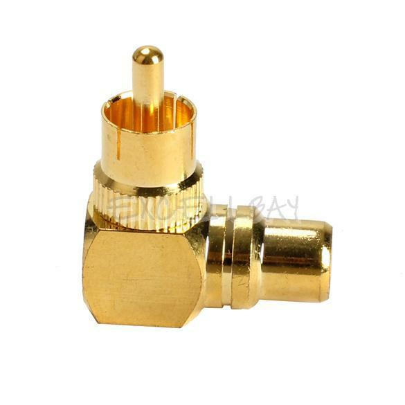 Gold Plated Right Angle RCA Adaptor Male to Female Plug Connector 90 Degree