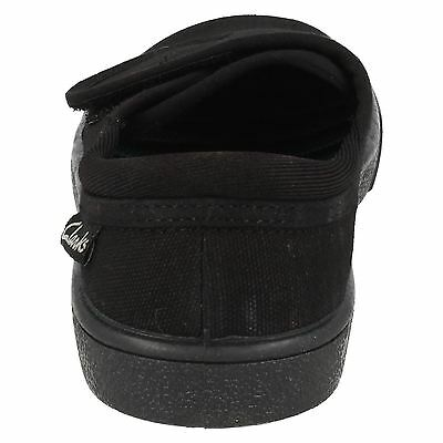 CHILDRENS CLARKS HOPPER RUN UNISEX RIPTAPE STRAP PE SPORTS BLACK PLIMSOLLS SHOES