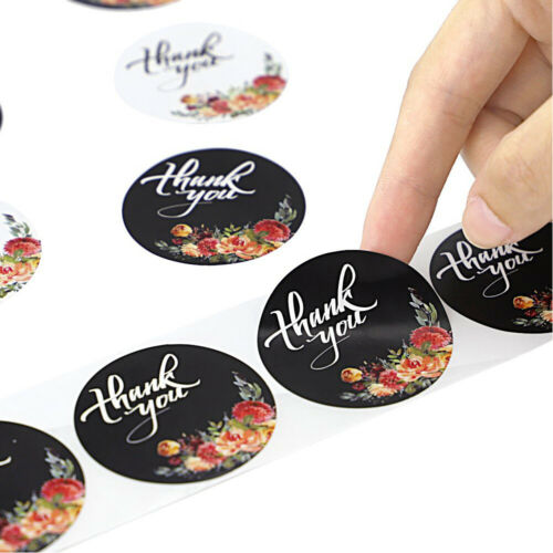 500Pcs//roll Christmas Kraft Handmade Stickers Thank You Label Sealing Supplies ~