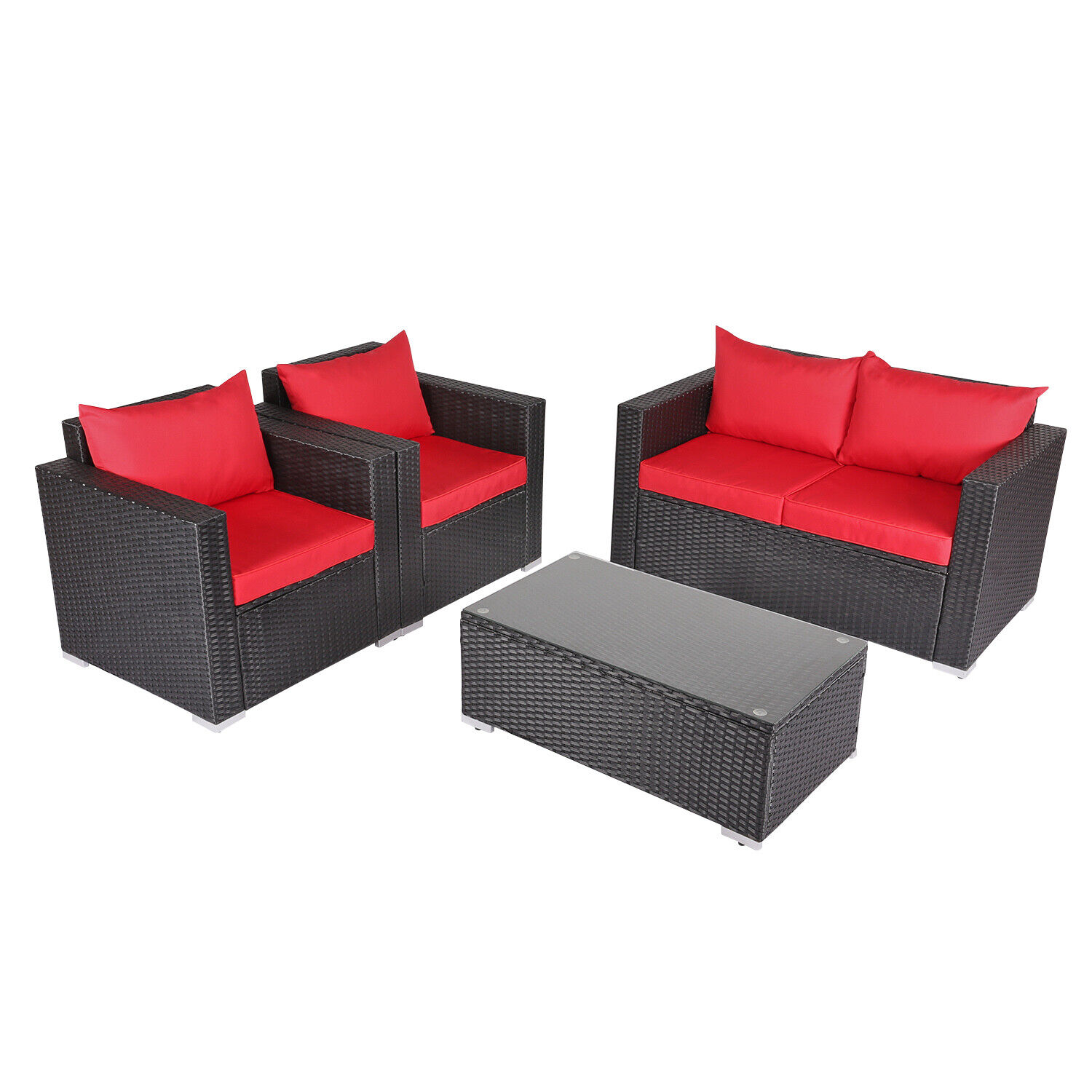 Kinbor 9-piece Outdoor Wicker Sofa Set Patio Sectional Furniture Set w/  Cushions