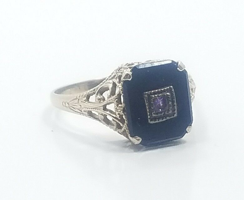 Beautiful Art Deco 14k White gold Filigree Onyx Amethyst Ladies Ring Size 7.25
