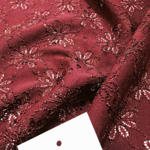 Luxury Embroidered stretch lace fabric with sequins M72 Mtex
