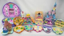 polly pocket bundle 10 × Mix Cinderella Castle  Cases , Compacts .Houses , clock