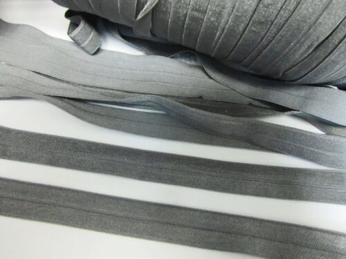 Silver 10 yards Elastic//Spandex Foldover 16mm Band Color//trim//sewing T155-Grey