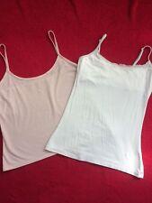 Donna Set di due taglia 8 - 10 Plain Blush Rosa e Bianco Vest Tops