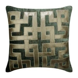 Handmade Teal Blue 20x20 Inch Pillow Covers Velvet Applique Foil Greek Maze Ebay