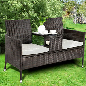 Image Is Loading Rattan Chair Double Seater Cushion Middle Tea Table
