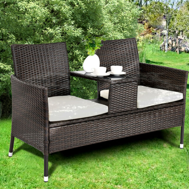 Rattan Chair Double Seater Cushion Middle Tea Table 2 Seat Set Furniture Garden