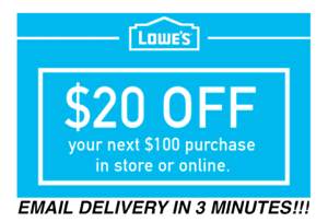TWO 2x Lowes $20 OFF $100 Coupons Discount - In store/online - Fast Shipment