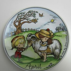Vtg-1966-Porcelain-Collector-Plate-by-Joan-Walsh-Anglund-034-April-034-Boy-Girl-Ram