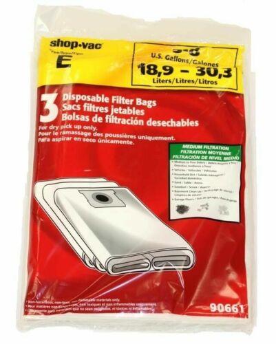 90661 Paper Bags-3PK-Fits All Tank Sizes 5-8 Gallon Shop Vac 9066100