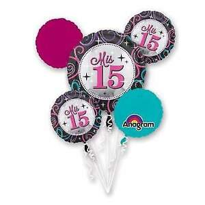 Ballonnen 5pc Mis Quince Sparkling Happy Birthday Balloon Bouquet 15th Fifteen Hot Pink