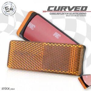 2-universal-Seiten-Gabel-Reflektoren-Katzenauge-orange-Motorrad-Euro-4