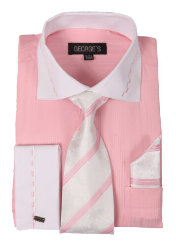 New Men's Dress Shirt Set with White Collar and French Cuff by George's AH621