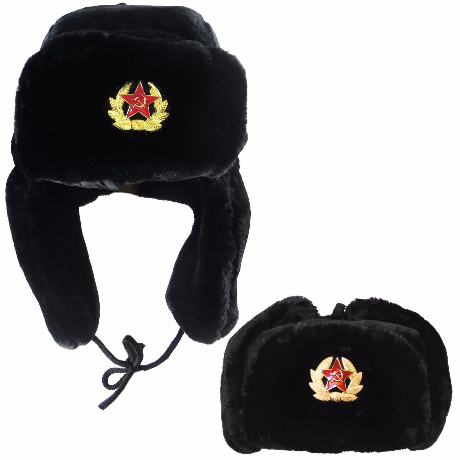 Cappello Imbottito Russo con distintivo sovietico Pelliccia Finta Colbacco Cosacco Flap Nero