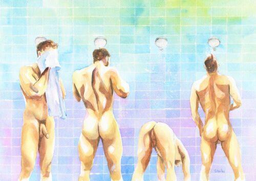 "PRINT of Original Art Work Watercolor Painting Gay Male Nude /""Shower/"""