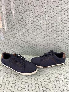 aldo navy blue denim low top lace up casual shoes men's