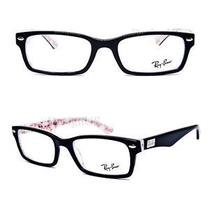 ac231efef4 Ray Ban RB 5206 5014 Black on White Red 54 18 145 Eyeglasses Rx ...
