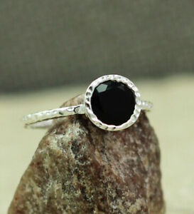 SOLID-925-SILVER-BLACK-ONYX-GEMSTONE-ENGAGEMENT-JEWELRY-RING-SIZE-7-US-KR1016