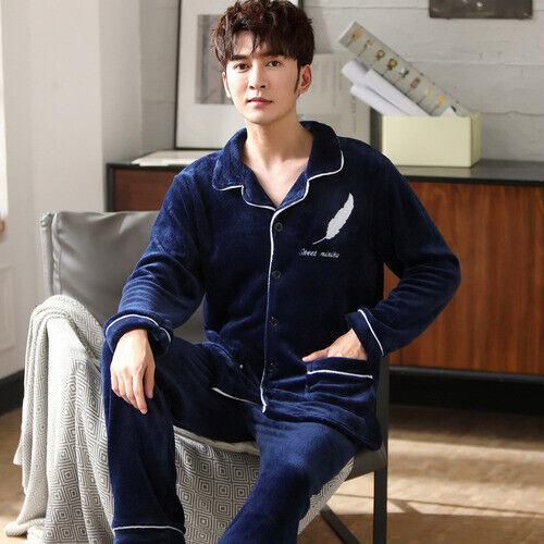 Details about  /2020 Men/'s Winter Thick Coral Fleece Pajamas Set Warm Soft Pajamas Top Hot