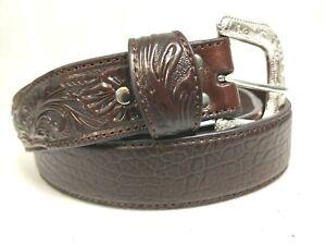 NOCONA-Belts-Mens-Size-46-Western-Embossed-Brown-Leather-Belt-Silver-Tone-Buckle