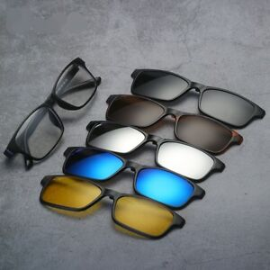 5-Pcs-Magnetic-Clip-on-Sunglasses-Polarized-1-TR-Glasses-Frames-Classic-Rx-able