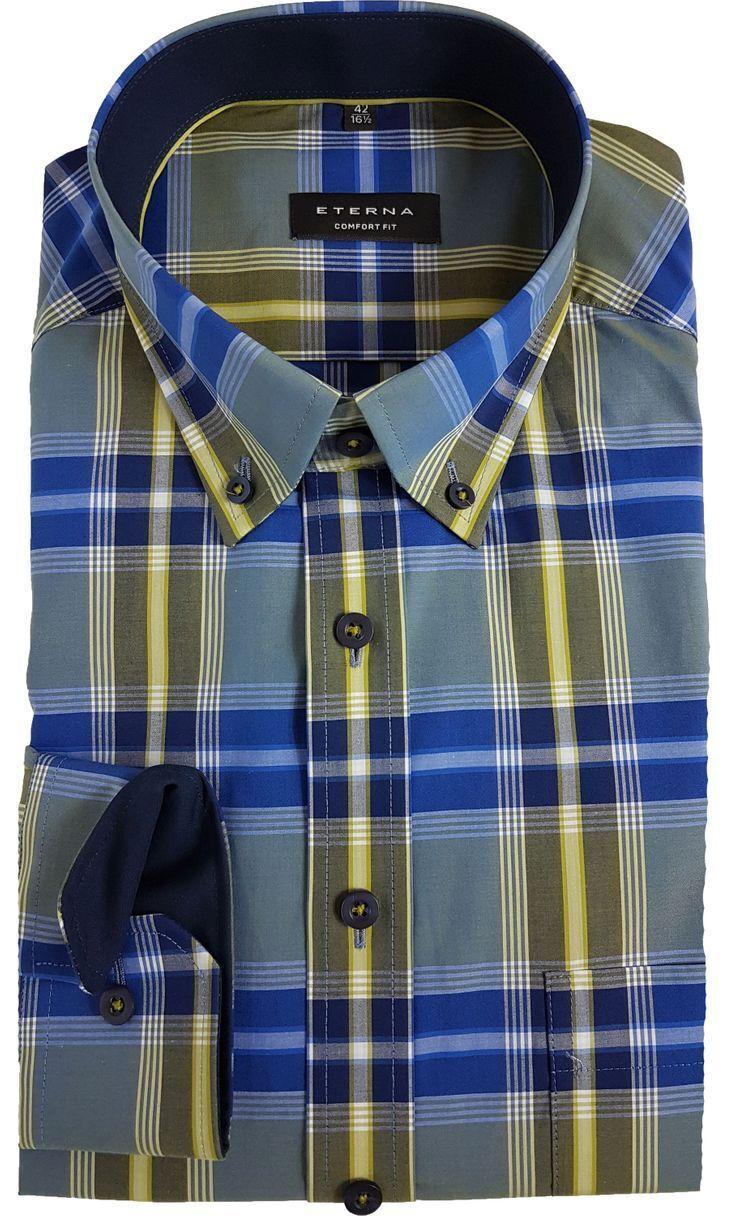 Eterna Hemd Comfort Fit auch Übergröße blau / grün Karo 65 cm Arm 2283/15 E144