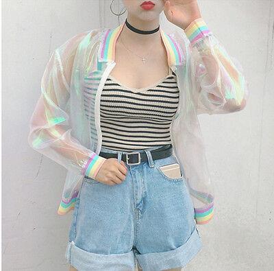Iridescent Transparent Jacket Women Girls Holographic Coat Laser Rainbow Bomber
