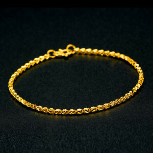 Details About Pure Solid 24k Yellow Gold Bracelet Women S Box Shape Chain 4 3g