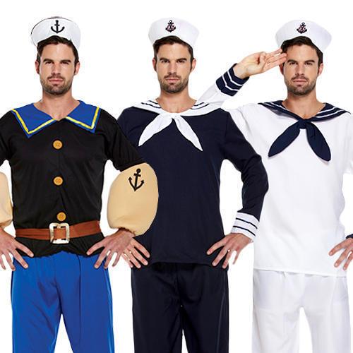 Cappello Da Uomo Naval Costume Uniforme Militare Adulti Navy marinaio costume Marinaio