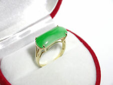 Beautiful Green Jade Saddle Ring in Solid 14k Yellow Gold      Size 7.25