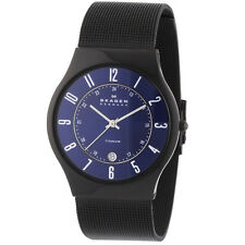 Skagen T233XLTMN Men's Denmark Blue Dial Black Plated Titanium Bracelet Watch