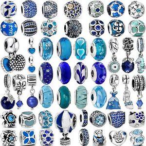 Pop-Hot-Fashion-Charms-Blue-Bead-For-Women-925-Sterling-Silver-Bracelets-Bangle