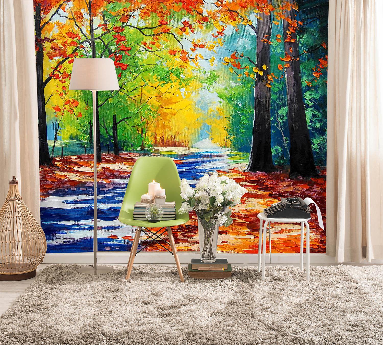 3D Aquarell Hölzer 742 Tapete Wandgemälde Tapete Tapeten Bild Familie DE Summer