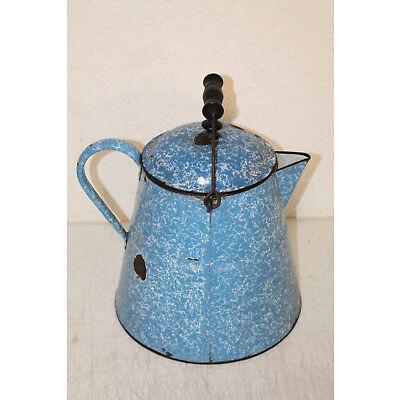 Primitive Graniteware Enamel Tea Pot Pitcher Blue White wooden handle Large 12''