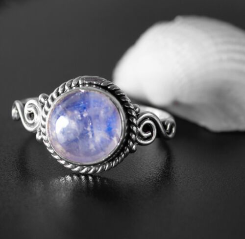 Round Moonstone Ring 925 Sterling Silver Ladies Gemstone Gift Boxed