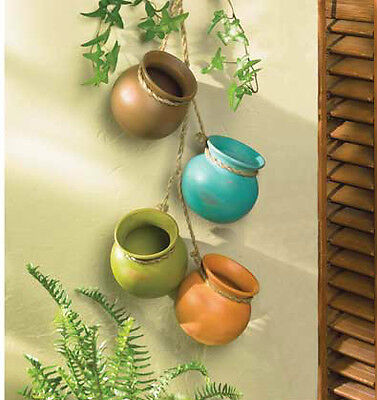 Old Pottery Rope Hanging Cooking Planter Pots Kitchen Garden Wall Accent Decor