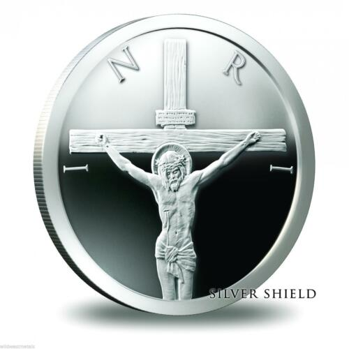 1 Silver Shield Jesus Christ /'Crucifixion/' OZ .999 Proof Silver Medallion