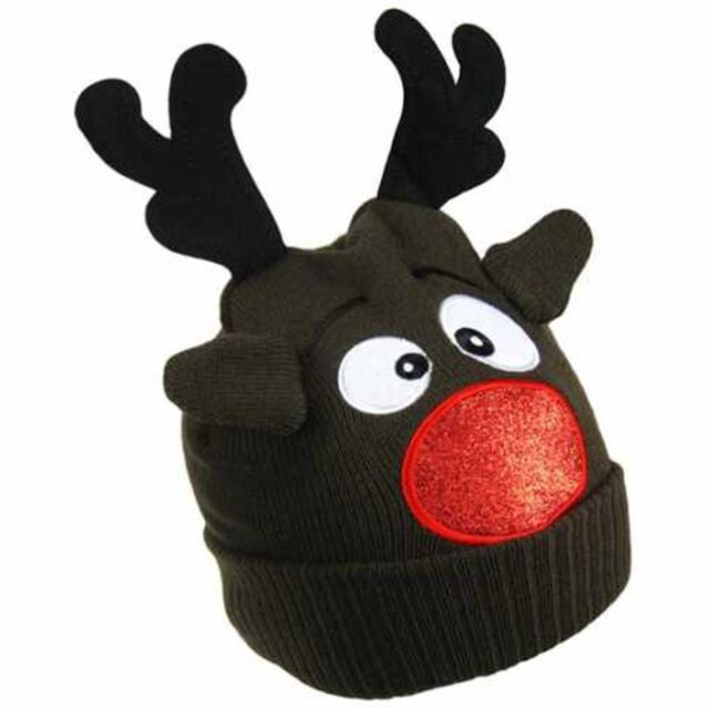 b7eb1b66d212d CHILDRENS KIDS BOYS GIRLS RUDOLPH THE RED NOSE REINDEER NOVELTY BEANIE HAT