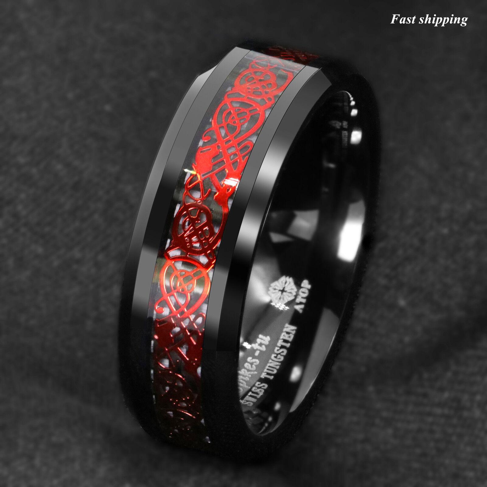 8mm Black Tungsten Ring Red Celtic Dragon Black carbon fibre Ring