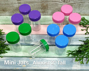12-Plastic-Containers-Travel-Meds-Pills-Refill-Jar-Multi-Color-Caps-3308-USA
