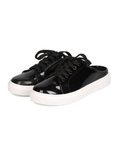 New Cape Robbin Beverly-1 Women Patent PU Round Toe Lace Up Sneaker Slipper