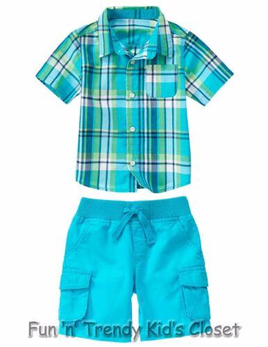 NWT Crazy 8 Boys Sz 4T 5T Plaid Button-Up Shirt /& Pull-On Cargo Shorts 2-PC SET