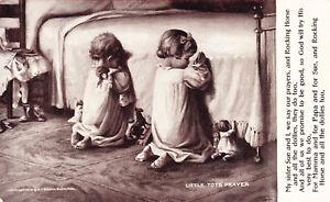 Vintage-Postcard-Little-Tots-Prayer-Children-Toys-Dolls-Poem-Poetry-1906-E01