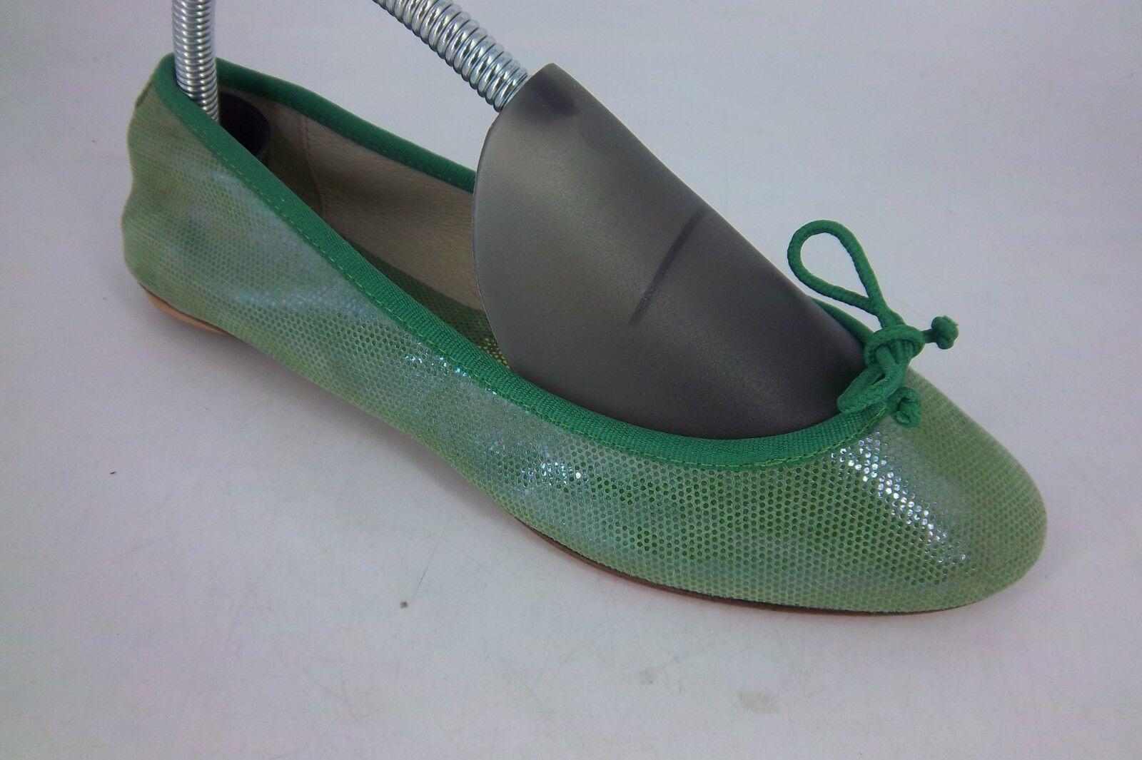 Bagllerina Cuir Veritable Green Foldable Leather shoes UK 5 EU 38 LN089 DD 08