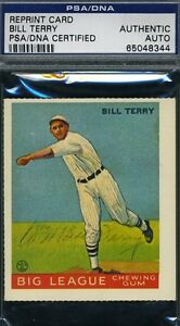 BILL-TERRY-AUTOGRAPH-PSA-DNA-1933-GOUDEY-REPRINT-AUTHENTIC-SIGNED