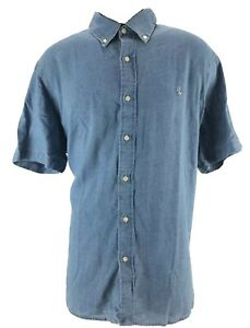 85-Polo-Ralph-Lauren-Mens-Shirt-Button-Down-Blue-Indigo-Oxford-XL-Short-Sleeve