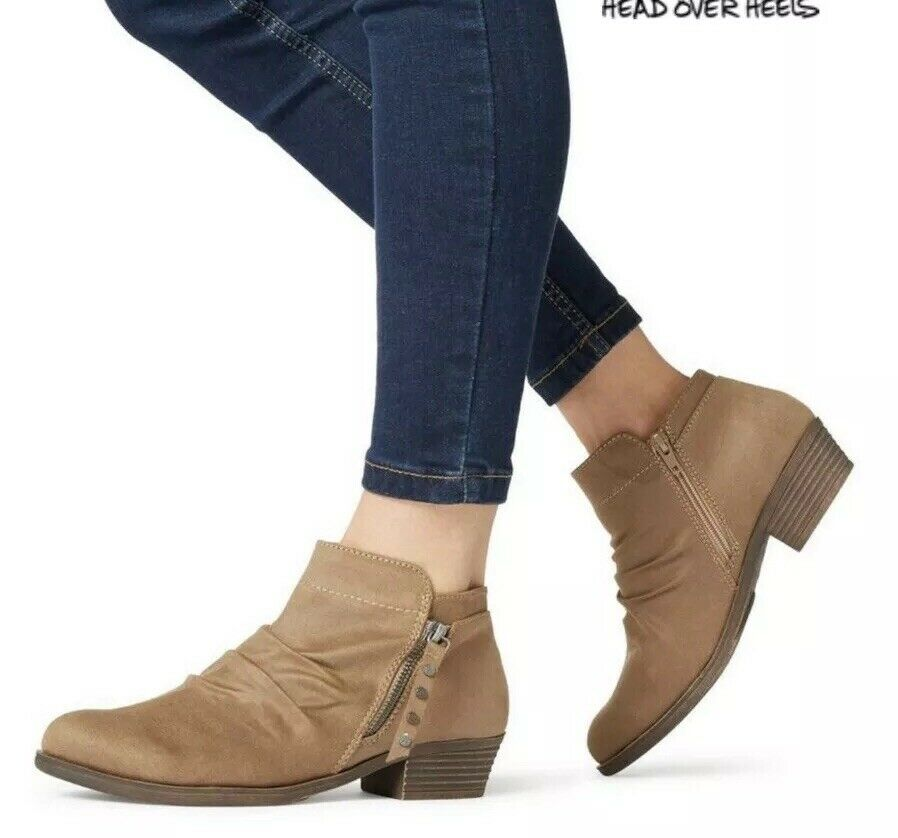 USS Head Over Heels Womens Portis - Taupe Ruched Western Boot SIZE UK 7