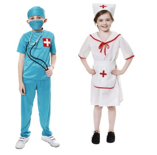RAGAZZI Ragazze Bambini Dottore Infermiera ER UNIFORM Costume Vestito 3-12 anni