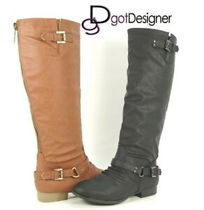 NEW-Women-039-s-Knee-High-Riding-Motorcycle-Boots-Flat-Military-Shoes-Zip-Size-5-10